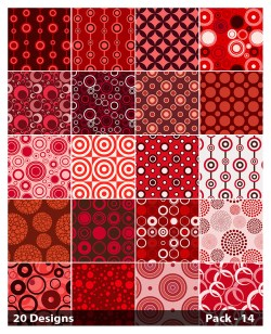 20 Red Geometric Circle Pattern Background Vector Pack 14
