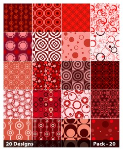 20 Red Seamless Circle Pattern Vector Pack 20