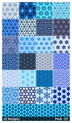 25 Blue Star Pattern Vector Pack 07