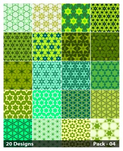 20 Green Star Background Pattern Vector Pack 04