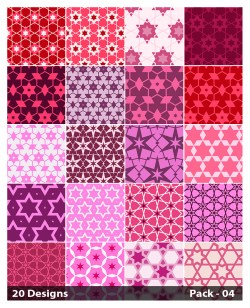 20 Pink Star Background Pattern Vector Pack 04