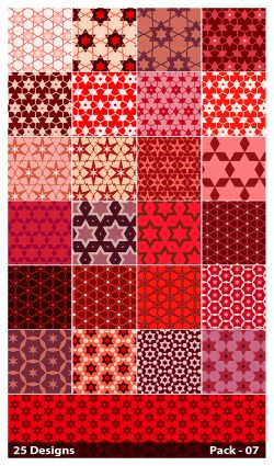25 Red Star Pattern Vector Pack 07