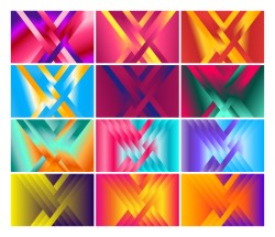 12 Fluid Color Gradient Geometric Shapes Composition Background Vector Pack