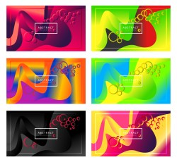 6 Abstract Modern Wavy Fluid Liquid Color Background Vector Pack