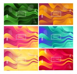 6 Fluid Gradient Wavy Background Vector Pack
