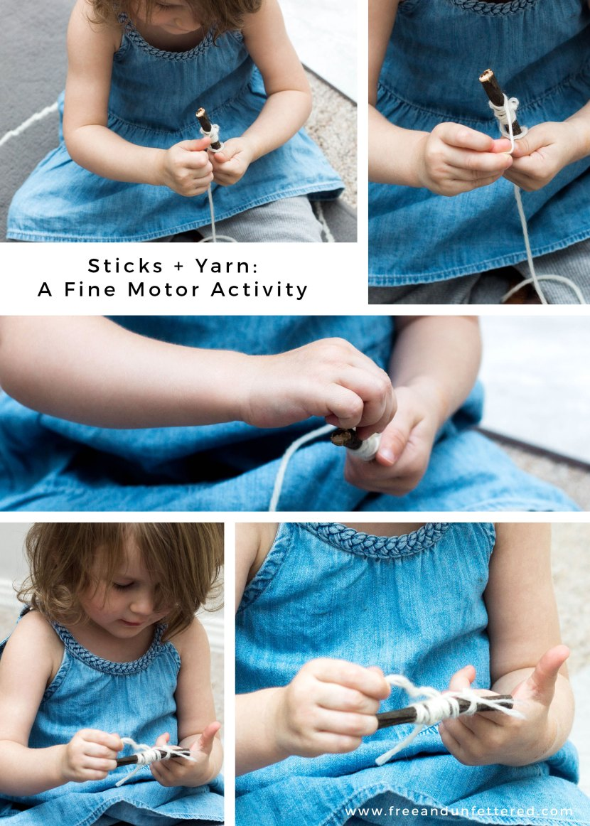 Wrapping sticks with yarn can be a wonderful fine motor activity for children of all ages!