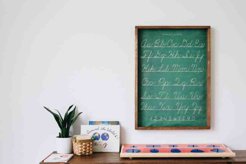 Here, a Cavallini & Co Penmanship Chart is displayed above the Montessori metal insets and sandpaper letters.
