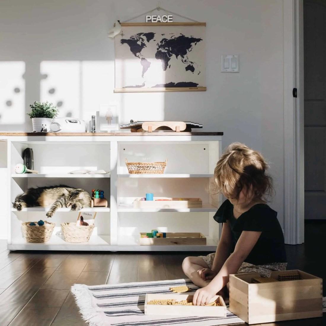 Natural light in Montessori homeschooling room