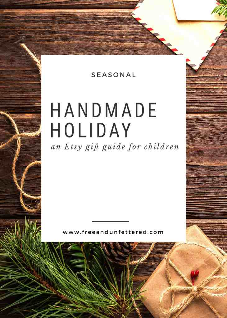 a selection of handmade gifts from Etsy for children for the holiday season