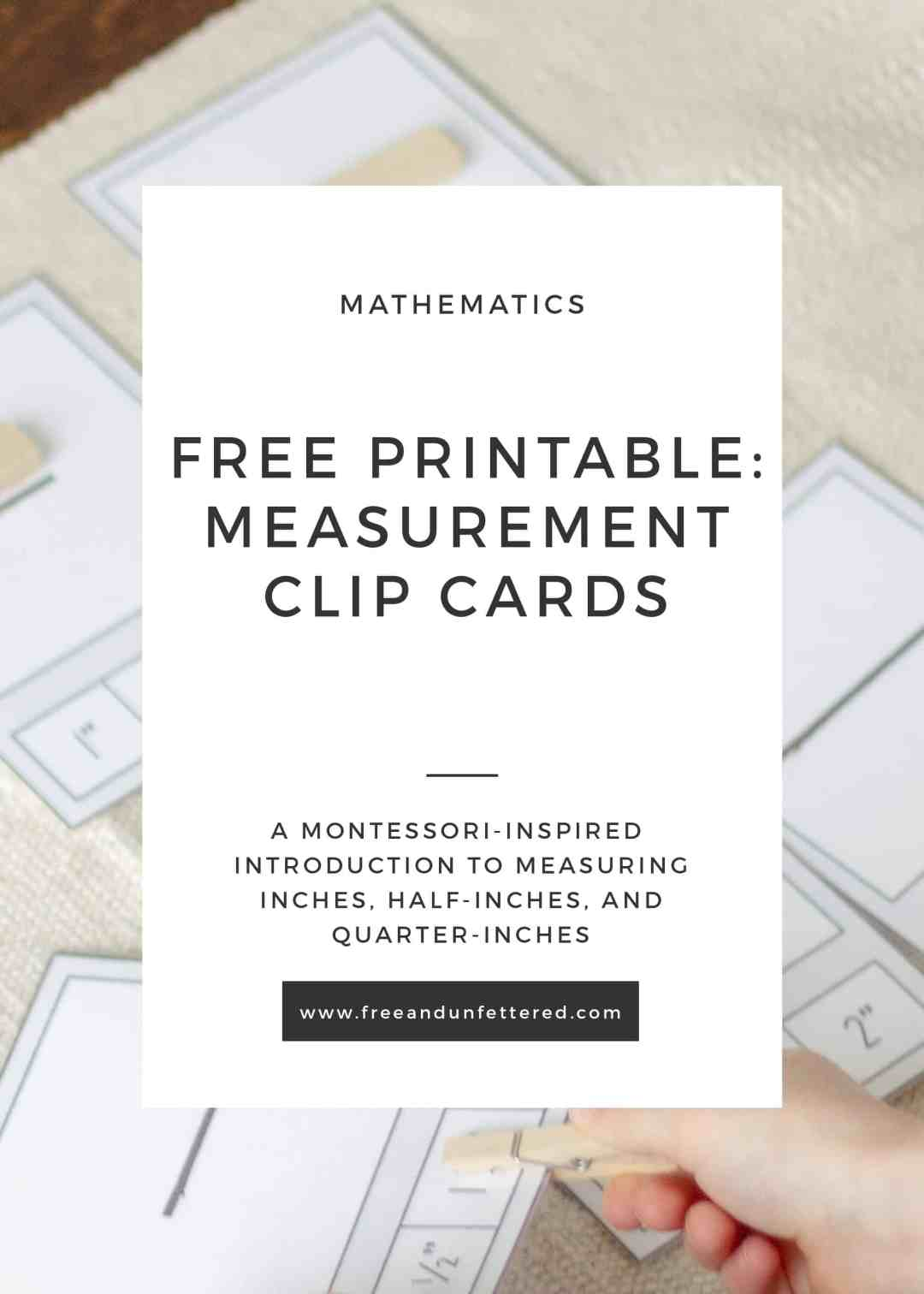 Free printable: measurement clip cards. A montessori-inspired introduction to measuring inches, half-inches, and quarter-inches.