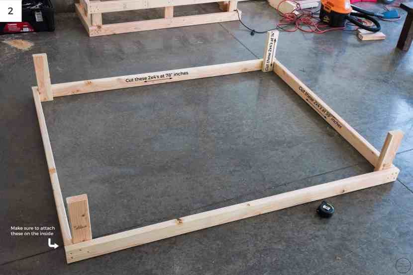 """Attaching (2) 2x4's at 78"""" to (2) 2x4's at 59"""" creates a box that is 78"""" x 62"""". An additional 4 14"""" 2x4's were used to create the depth needed for the frame."""