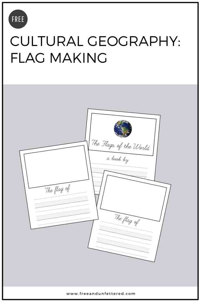 Free printable lined cards allow kids to make a Flags of the World book as part of elementary cultural geography studies. #homeeducation #homeschool #montessorihomeschooling #culturalgeography #earlychildhoodeducation