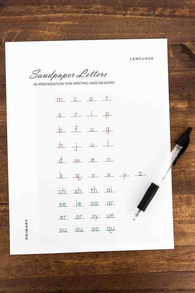a progress sheet for tracking a child's knowledge of letters used to simplify Montessori planning and recordkeeping