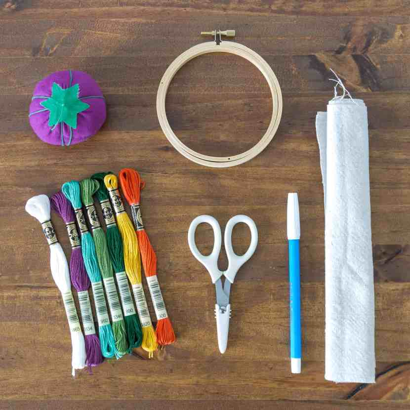 Here are the materials needed to make an embroidered biome map: an embroidery hoop, corresponding shades of embroidery thread -- one for each biome, a pincushion, a water erasable fabric marking pen, a pair of scissors, and a piece of cotton fabric.