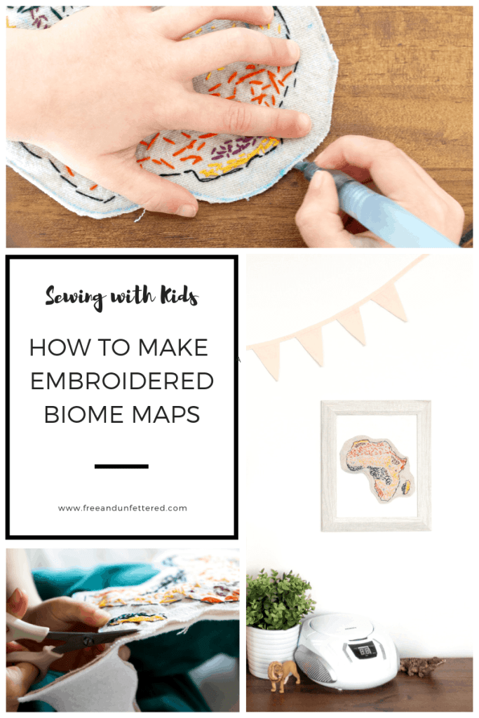 Sewing with Kids: How to Make Embroidered Biome Maps. Looking for a new handiwork activity for kids? Try embroidering biome maps! Sewing is wonderful for fine motor skills, and coupling it with biome maps makes it a wonderful extension for elementary science and geography studies. #homeschool #kidshandicrafts #charlottemason #sewingwithkids #montessoriathome #practicallife #homeeducation #biomestudies #geography #minimalistcrafting