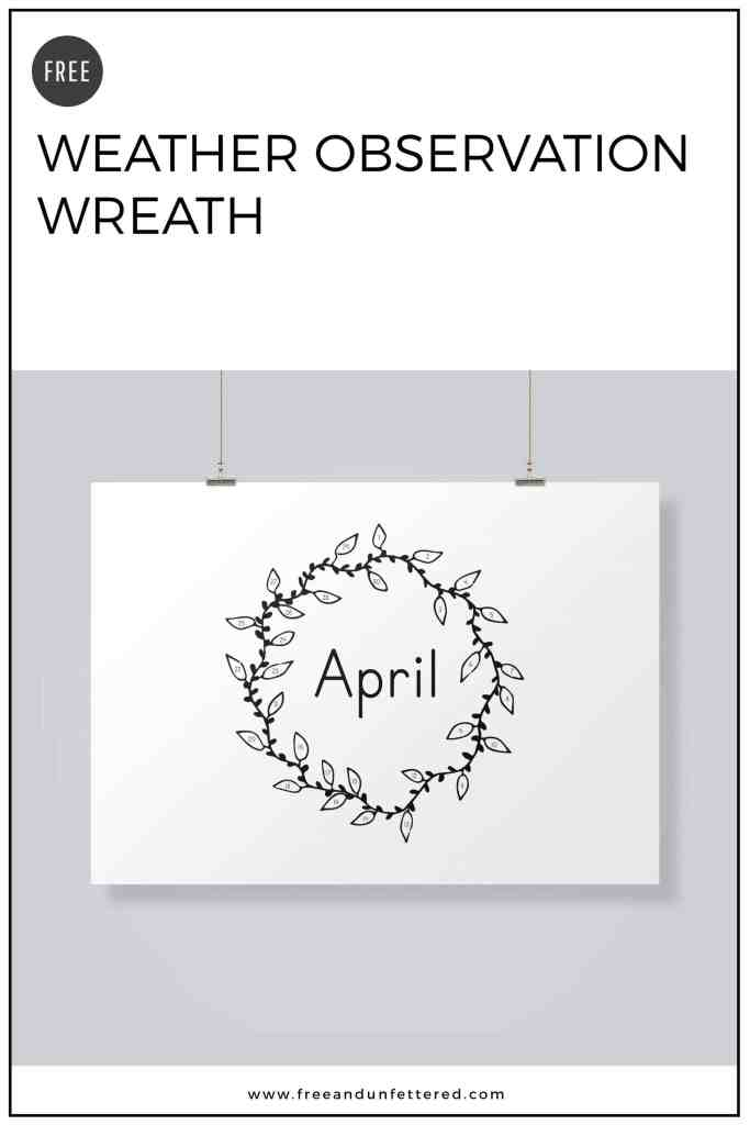 Free Printable: Weather Observation Wreath. Observe, track, and record the daily weather conditions in your area with your children in an easy, straightforward way using this weather observation wreath. It's perfect for getting preschool, kindergarten, and early elementary students engaged in weather observation! #earlychildhoodeducation #naturestudy #weather #science #stemactivities #naturejournalingwithkids