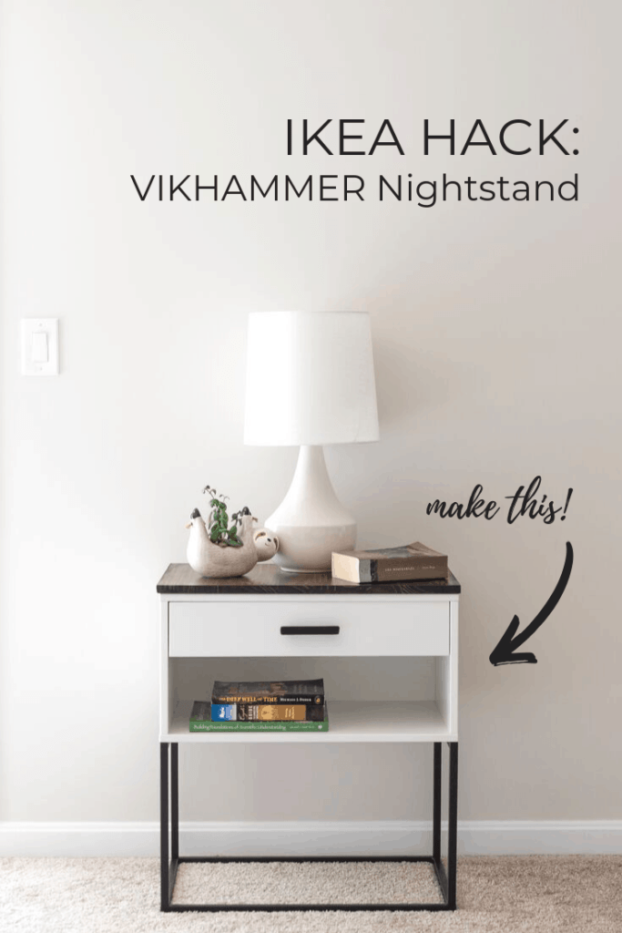 Learn how to make a modern farmhouse nightstand using IKEA's VIKHAMMER nightstand, some matte black spray paint, a couple drawer pulls, and a piece of wood.