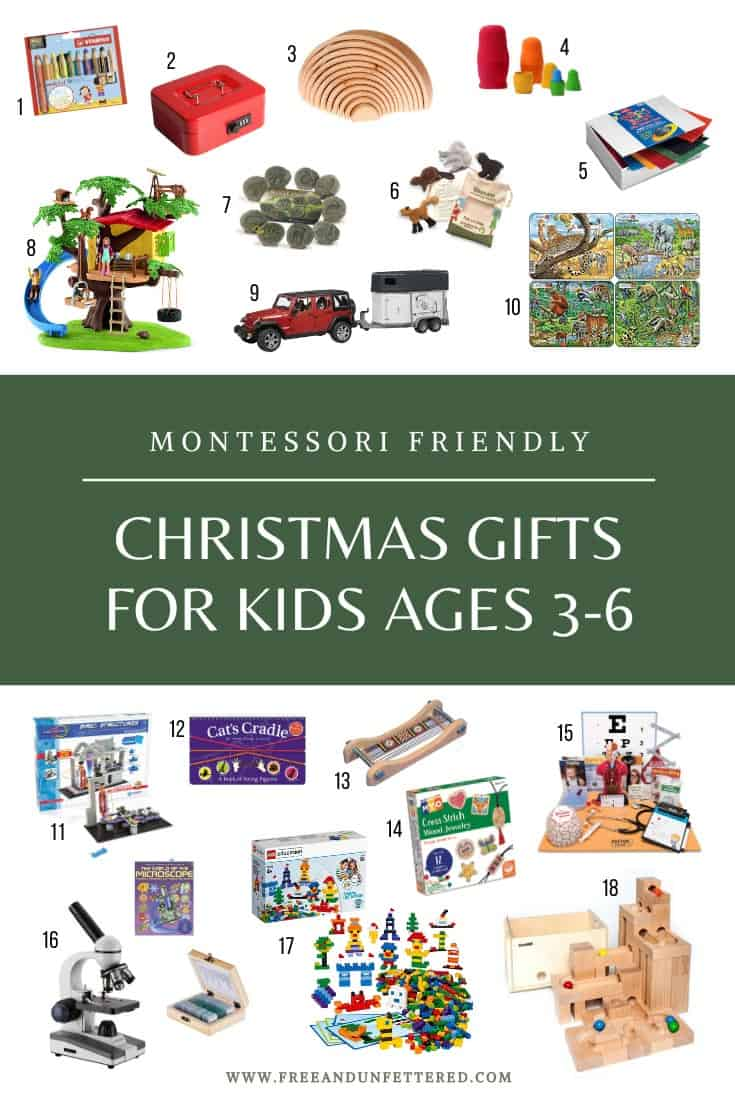 Check out some of our favorite Montessori-friendly gift ideas for children ages 3-9 at www.freeandunfettered.com. Click through to read about some of our favorite board games, books, open-ended toys, and educational materials that your child will love!
