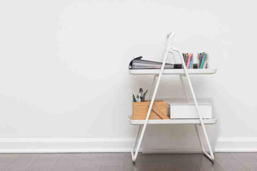 IKEA's VIGGJA Tray Cart being used to store art supplies for children.