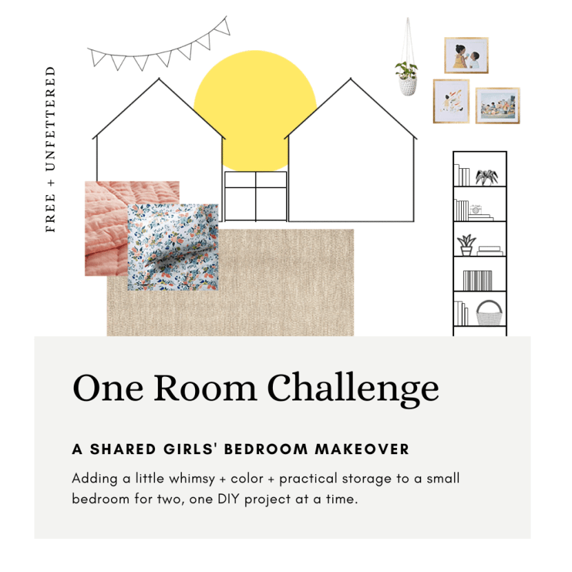 Join us as our family makes over our daughters' small shared bedroom, adding a bit of whimsy, color, and much needed practical storage as we participate in the Spring 2020 One Room Challenge! #montessoriathome #childfriendlydesign #designingwithkids