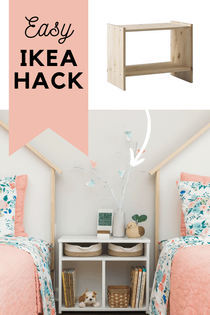 Looking to update IKEA's RAST nightstand? See how we were able to easily transform it with just a couple pieces of scrap wood and some leftover paint to make the perfect nightstand for a shared kids' bedroom! Learn more at www.freeandunfettered.com. #ikeahack #kidsbedroom #diyfurniture #sharedbedroom