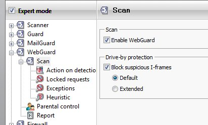 Web Guard Settings with I frame protection against drive by downloads