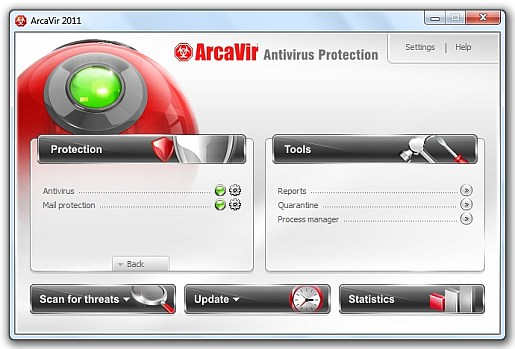 ArcaVir 2011 main interface