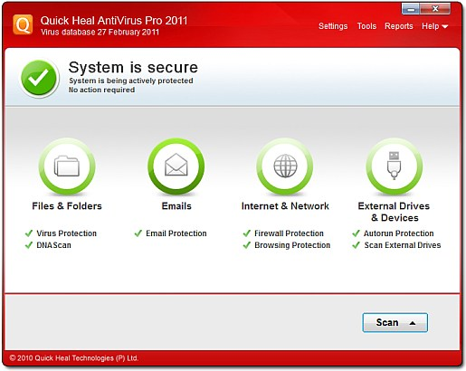 Quick Heal Antivirus Pro 2011 main screen