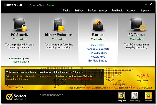 Norton 360 5.0 main screen