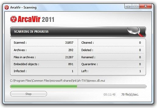 ArcaVir 2011 scanning