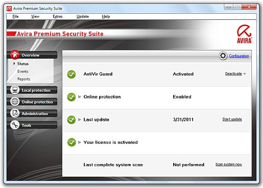 Avira Premium Security Suite main