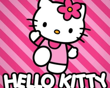 Pink Hello Kitty With Striped Background