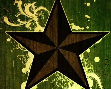 Vintage Star With Floral Background