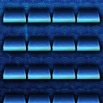 Blue Shelves with Swirls Background