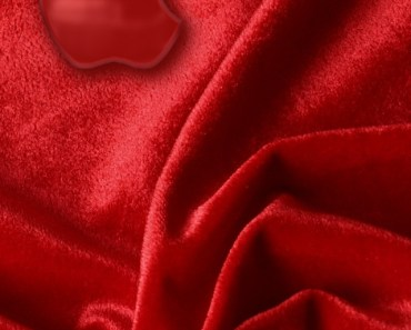 Crystal Apple Logo On The Red Satin