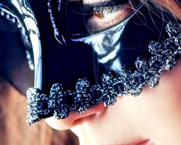 Blonde Girl with Black Mask