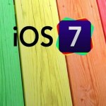 iOS 7 Logo with Colored Wood Background