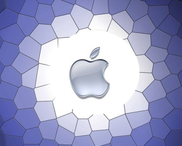 Apple Logo with Purple Cells Background