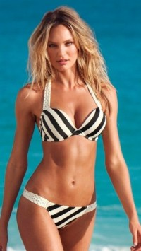 Candice Swanepoel Striped Bikini