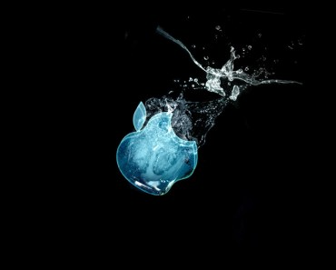 Glass Apple Logo In Water