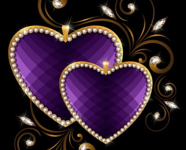 Purple Love Heart with Gold Border