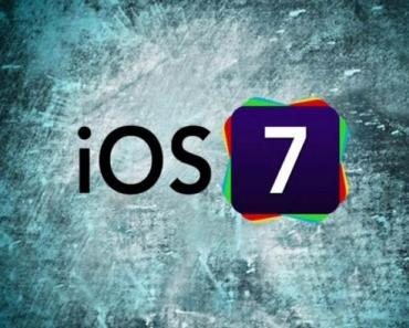 iOS 7 Logo With Blue Grunge Background