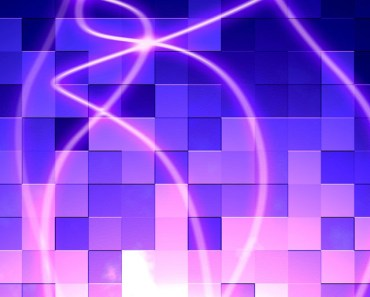 Blue Abstract Cubes with Pink Curves