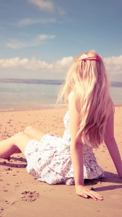Blonde Girl Beach Sea Sand