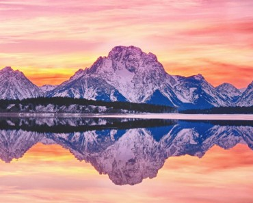 Snow Mountains Lake Sunset