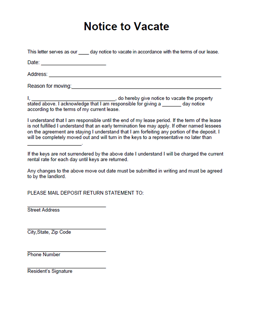 Notice To Vacate Template. . best photos of move out notice to ...