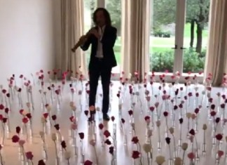 Kanye Gives Kim A Maze Of Roses And Kenny G For Valentine's Day