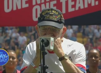 96-Year-Old Veteran Wows Crowd With Harmonica Rendition Of National Anthem