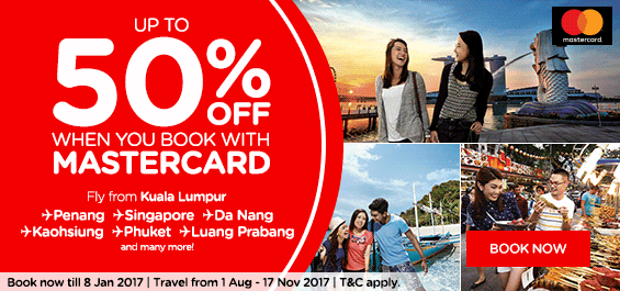 AirAsia 50% off Exclusively for MasterCard® members!
