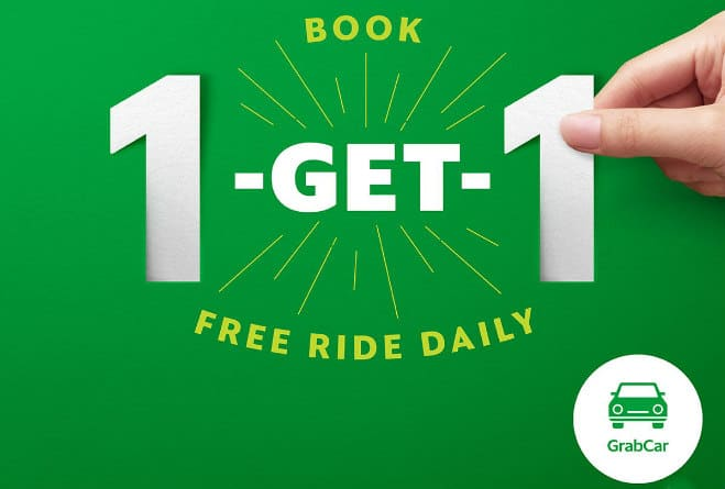 GrabCar Free Ride – Book 1 and Get 1 free ride daily!